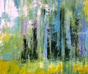 Cypress Trees, Florence, Paintings, Abstract, Landscape, Acrylic, By Sal Panasci