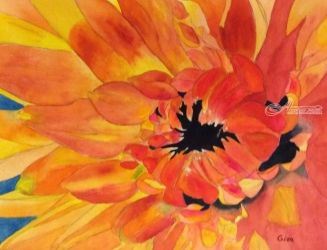 Dahlia, Paintings, Impressionism, Floral, Watercolor, By Christina Giza