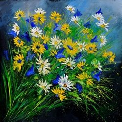 daisies 7741, Paintings, Expressionism, Floral, Canvas, By Pol Ledent