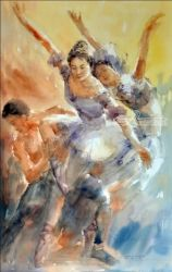 Dance, Paintings, Expressionism,Realism, Figurative,People, Watercolor, By Jun Martinez