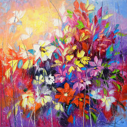 Dance of flowers, Paintings, Abstract,Expressionism,Fine Art,Impressionism, Anatomy,Botanical,Fantasy,Floral, Canvas,Oil,Painting, By Olha   Darchuk