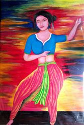 Dancing a Indian girl, Paintings, Pop Art, Dance, Pastel, By Haran Mandal