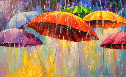 Dancing umbrellas, Paintings, Expressionism,Fine Art,Impressionism, Botanical,Cityscape,Dance,Fantasy,Landscape, Canvas,Oil,Painting, By Olha   Darchuk