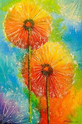 Dandelions, Paintings, Impressionism, Botanical,Floral,Nature, Canvas,Oil,Painting, By Olha   Darchuk