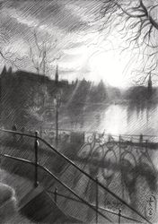 De Hofvijver – 20-03-20, Drawings / Sketch, Impressionism,Realism, Architecture,Cityscape,Composition,Figurative,Inspirational, Pencil, By Corne Akkers