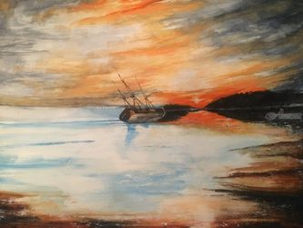 Death of a Grand Lady, Paintings, Impressionism, Seascape, Watercolor, By Stephen Keller