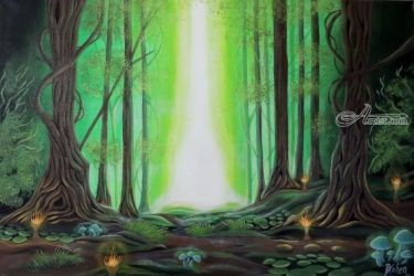 Deep forest, Graphic,Paintings, Fine Art,Hallucinogens,Street Art,Symbolism, Botanical,Decorative,Environmental art,The Unconscious, Acrylic,Canvas, By Daron Cohen