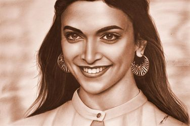 Deepika Padukone portrait of<br>the face, Illustration,Paintings, Dadaism,Existentialism,Expressionism,Impressionism,Photorealism,Realism, Anatomy,Portrait, Mixed,Oil,Pencil, By Stefan Pabst