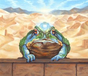 Dust Toad, Illustration,Paintings, Fine Art,Realism,Surrealism, Animals,Fantasy,Humor, Oil, By Rebecca Magar