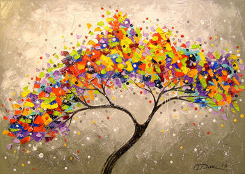 Desire tree, Paintings, Impressionism, Botanical,Fantasy,Floral,Nature, Canvas,Oil,Painting, By Olha   Darchuk