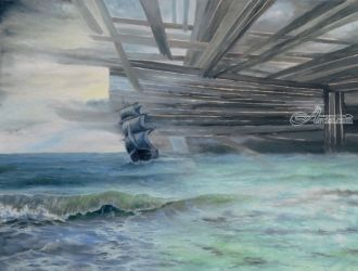 Destroying Barriers, Paintings, Realism,Surrealism, Seascape, Canvas,Oil, By Sergey Lutsenko