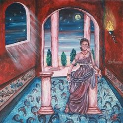 DI NOTTE ALLE TERME, Paintings, Fine Art, Figurative, Acrylic,Canvas, By Corinne Tomas
