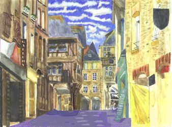 Dinan 2 Brittany Watercolour, Paintings, Realism, Cityscape, Watercolor, By Michelle Archer
