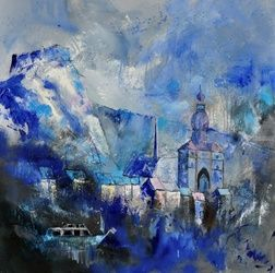 dinant 8841, Architecture,Decorative Arts,Drawings / Sketch,Paintings, Expressionism, Landscape, Canvas, By Pol Ledent
