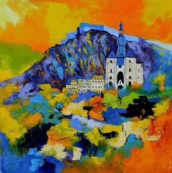 Dinant city Belgium, Paintings, Expressionism, Landscape, Oil, By Pol Ledent