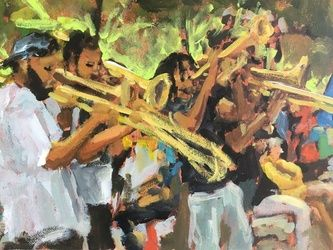 Dixieland, Paintings, Impressionism, Music, Acrylic, By Susan Elizabeth Jones