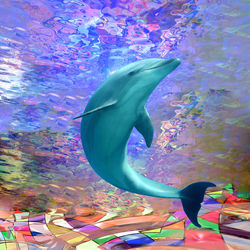 Dolphin Sunlight, Digital Art / Computer Art, Commercial Design,Hallucinogens,Modernism, Animals,Avant-Garde,Fantasy,Wildlife, Digital, By Matthew Lacey