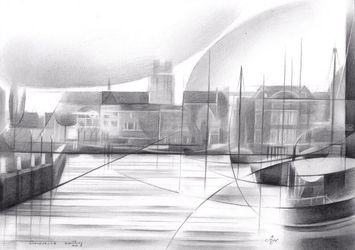 Dordrecht – 07-12-17, Drawings / Sketch, Abstract,Cubism,Fine Art,Impressionism, Cityscape,Composition,Figurative,Inspirational, Pencil, By Corne Akkers