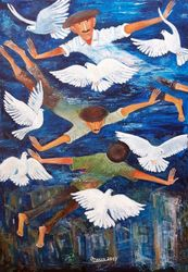 DOVES OF OUR STREET, Paintings, Impressionism, Wildlife, Canvas, By ZAKIR AHMEDOV