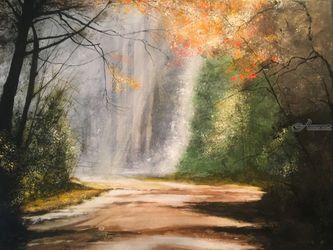 Down The Road Aways, Paintings, Impressionism, Landscape, Watercolor, By Stephen Keller
