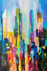 Downtown, Paintings, Abstract, Architecture,Cityscape, Canvas,Oil, By Liubov Kuptsova