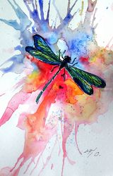 Dragonfly, Paintings, Impressionism, Animals, Watercolor, By Kovacs Anna Brigitta