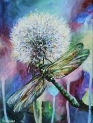 Dragonfly, Paintings, Fine Art, Animals,Botanical, Acrylic,Canvas, By Marta Kuźniar