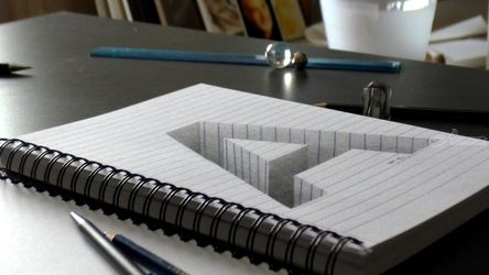 Drawing of a hole letter A in<br>line paper/ 3D Trick Art<br>Optical Illusion, Drawings / Sketch, Fine Art, 3-D, Charcoal, By Stefan Pabst