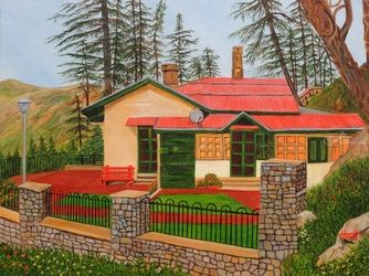 Dream House in Shimla, Paintings, Realism, Landscape, Canvas, By Ajay Harit
