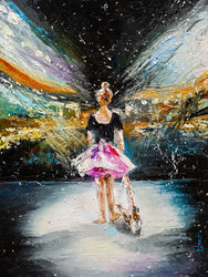 Dreams about scene, Paintings, Impressionism, Children,Dance,People, Oil, By Liubov Kuptsova