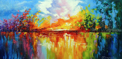 Dreams at sunset, Paintings, Abstract,Impressionism, Analytical art,Landscape, Canvas,Oil,Painting, By Olha   Darchuk