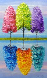 Each tree has a vibrant life, Paintings, Fine Art,Impressionism, Botanical,Landscape, Canvas,Oil,Painting, By Olha   Darchuk