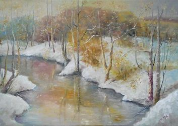 EARLY WINTER original<br>landscape painting, Paintings, Fine Art,Impressionism, Land Art,Landscape, Canvas,Oil, By Emilia Milcheva