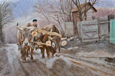 Easy Ride, Paintings, Fine Art,Realism, Animals,Landscape,Narrative, Canvas,Oil, By Dejan Trajkovic