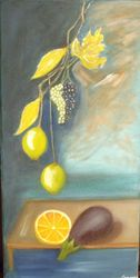 Eggplant Limes Grapes, Paintings, Impressionism,Realism, Floral, Canvas,Oil, By Mike Chaple