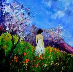 Eglantine in the flowers, Paintings, Expressionism, Figurative, Canvas, By Pol Ledent