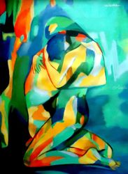 Embrace, Paintings, Abstract,Expressionism,Fauvism,Fine Art, Decorative,Erotic,Fantasy,Figurative,Nudes, Acrylic, By Helena Wierzbicki