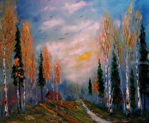 Emotions of autumn, Paintings, Impressionism, Landscape, Oil,Painting, By Valeriy Politov