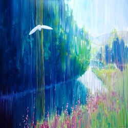 Enchanted - a white owl in a<br>summer landscape large<br>original oil painting, Paintings, Fine Art, Landscape, Oil, By Gill Bustamante