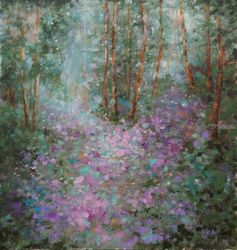 ENCHANTED WOODS, original<br>landscape painting, Paintings, Impressionism, Fantasy,Land Art,Landscape,Moving Images,Nature, Acrylic, By Emilia Milcheva