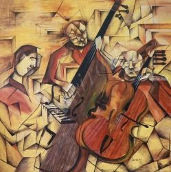Ensemble of Musicians, Paintings, Cubism, Music, Acrylic, By Janakiraman B