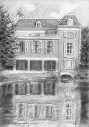Estate Clingendael - 08-08-14, Drawings / Sketch, Abstract,Fine Art,Impressionism,Realism, Architecture,Composition,Figurative,Inspirational,Landscape,Nature, Pencil, By Corne Akkers
