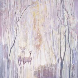 Ethereal - white deer in a<br>white winter forest, Paintings, Abstract,Expressionism,Fine Art, Animals,Inspirational,Landscape,Spiritual,Wildlife, Oil, By Gill Bustamante