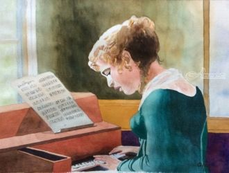 Etude, Paintings, Impressionism, Portrait, Watercolor, By Christina Giza