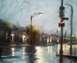 Evening city lights, Paintings, Impressionism, Cityscape, Oil,Wood, By Angela Suto