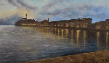 Evening in Rovinj, Paintings, Fine Art,Impressionism, Cityscape,Seascape,Window on the World, Oil,Wood, By Angela Suto