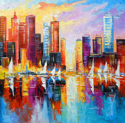 Evening new York, Paintings, Expressionism,Impressionism, Architecture,Cityscape,Landscape, Canvas,Oil,Painting, By Olha   Darchuk