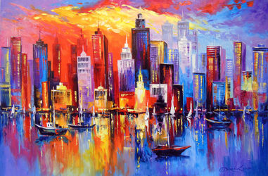 Evening new York, Paintings, Impressionism, Cityscape,Inspirational,Landscape, Canvas,Oil,Painting, By Olha   Darchuk