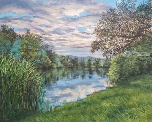 evening on the lake, Paintings, Realism, Landscape, Oil, By Cornel Moldovan
