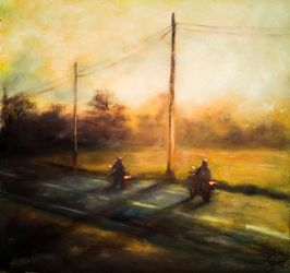 Evening riding, Paintings, Fine Art,Impressionism, Daily Life,Landscape, Oil,Wood, By Angela Suto
